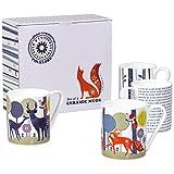 Folklore Keramik-Tassen, weiß mit Blauem Rand, 4Stück