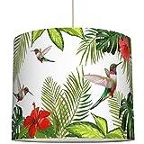 anna wand Lampenschirm KOLIBRIS & HIBISKUS – Schirm für Lampe mit tropischem Pflanzenmotiv – Sanftes Licht für Tischleuchte/Stehlampe/Hängelampe im Wohnzimmer, Esszimmer, Schlafzimmer