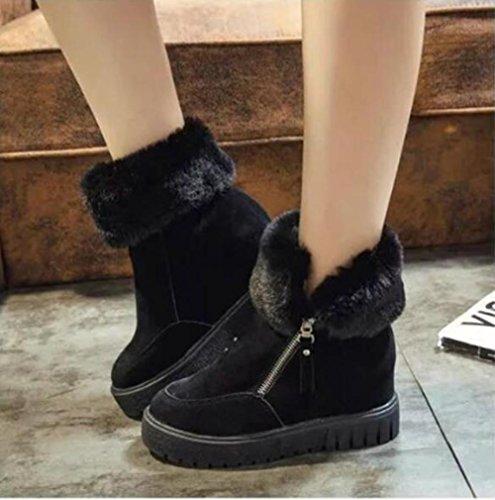 ZZHH Pois en cuir mat bottes de neige coton chaud, plus Bottes augmentation des femmes Black
