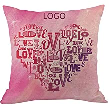 DIPOLA Funda de Almohada Happy LoveS Day Throw Funda de Cojín Sweet Love Square Regalo para