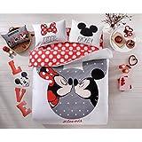 Parure de lit Mickey et Minnie Loveis Taille double Ensemble 100% coton avec housse de couette, drap-housse et 2taies d'oreiller