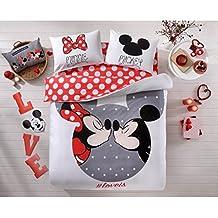 Original Juego de Funda de Edredón, diseño de Disney Mickey y Minnie Amor Loveis Blanco Rojo, Para Cama Doble, 100% algodón, 4 Piezas (funda de edredón + sábana ajustable + 2 funda almohada)