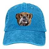 Osmykqe Bulldog with Sunglasses Denim Hat Adjustable Womens Mini Baseball Caps Y020056