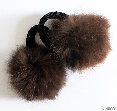 HAND Une paire de beau lapin Pom Pom Band cheveux, couleurs assorties, décoratif Pom poms w/bande - 2,5 (Brown)