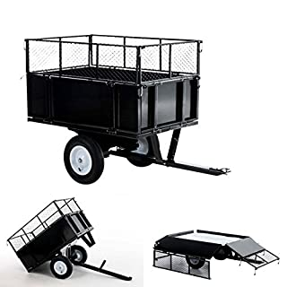 CLP trailer for lawn tractor ATV, single-axle tipper up to 300 kg, universal trailer coupling + 30 cm heigth-enhancement black