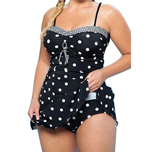 LHWY Frauen Plus Größe Badeanzug Zweiteiliger Umsäumte Strandrock Kleid Punkte Print Strand Kostüm Bikinioberteil (4XL, Schwarz) (Baby Unter Dem Meer Kostüme)