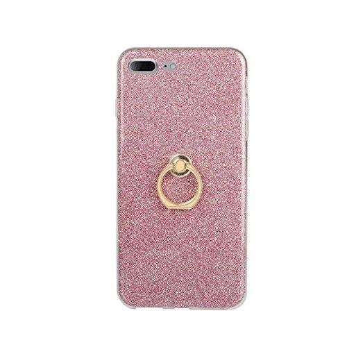 Luxus Bling Sparkle Style Case, Soft TPU [Silikon] Flexible Glitter Rückentasche mit Fingerring Stand [Anti Scratch] [Shockproof] für iPhone 7 Plus (5,5 Zoll) ( Color : White ) Pink