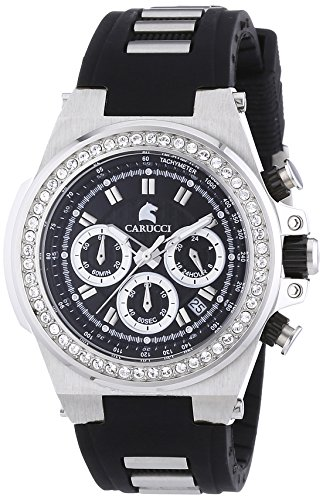 Carucci Watches Women's Automatic Watch CA2215BK-BK with Rubber Strap