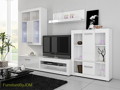 "Living Room Furniture Set, TV Wall Unit, TV Table Set""VIKI"" TV Bench, Display Units, Wall-mounted Shelve in 4 Colors (Plum Wallis/Black Gloss)"