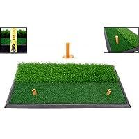LL-Golf Golf 2 in 1 Abschlagmatte 60x30 cm mit Rough + Fairway Inklusive Gummi Tee/Training Übung Matte