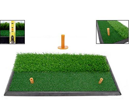 LL-Golf® Golf 2 in 1 Abschlagmatte 60x30 cm mit Rough + Fairway inklusive Gummi Tee/Training Übung Matte -