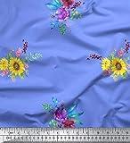 Soimoi Blau Baumwolle Batist Stoff Sonnenblumen und