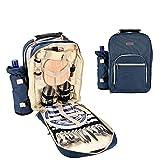 Picknicktasche mit ESS-Set - Großer, isolierter Picknickrucksack mit weicher Kühltasche, sichere, ungiftige, mehrlagige Verstärkung für Camping, Angeln und Grillen