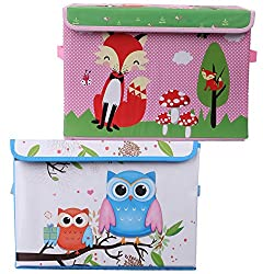 UberLyfe Blue & Pink Foldable Storage and Toy Box - Set of 2 (KSB-996-1082-COM)