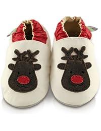 Snuggle Feet - Chaussons Bébé en Cuir Doux - Renne