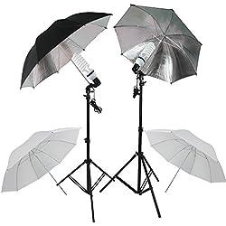 RPGT® Fotolampe Ein Paar Set Studioschirm mit weisse Durchlichtschirme silberne Reflektorschirm