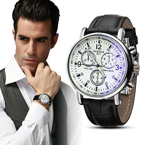 Yogogo Herren Quartz Analog Ray Armband , 1 Cent Artikel Armbanduhr   Lederband   Dekoration   Sportuhr   Geschenk   Alugehäuse   Quarzwerk   24cm Bandlänge (Schwarz 1)