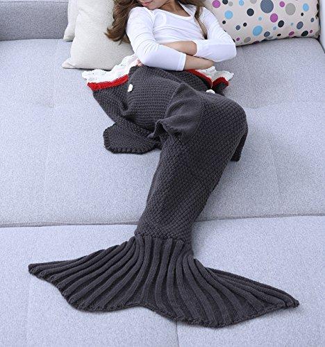 YiZYiF Meerjungfrau Decke Handgemachte Gestrickt Schlafsack Strick Decke Blanket Mermaid Tail Kostüm für Baby Mädchen Damen (Für Kinder, Hai ( Grau ))
