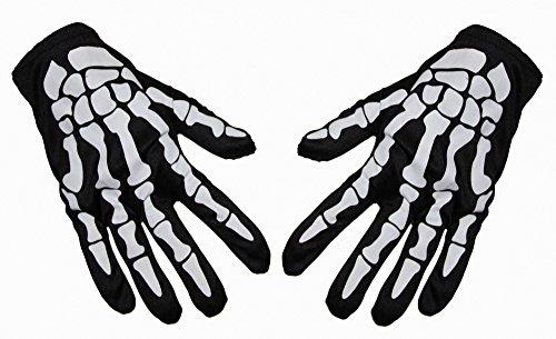 Foxxeo 35205 | Skelett Handschuhe schwarz Horror Sensenmann Halloween Kostüm Sensemann