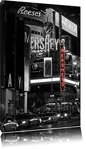 Dark berühmtes Hershey's in New York schwarz/weiß auf Leinwand, XXL riesige Bilder fertig gerahmt mit Keilrahmen, Kunstdruck auf Wandbild mit Rahmen, günstiger als Gemälde oder Ölbild, kein Poster oder Plakat