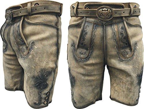 Oxlam Trachten Herren Kurze Lederhose mit Gürtel traditionell Träger antikbraun, Trachtenlederhose-Trachtenlederhose...