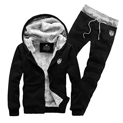 Fleece Completo da Uomo Zip Up Tuta Giacca con Cappuccio Pantaloni Gym Suit Invernale Nero