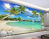 Fototapete 3D Wandtapete Schöne Strandlandschaft, Delfine, Kokospalmen, Dekorative Wandmalereien (W)160X(H)120Cm