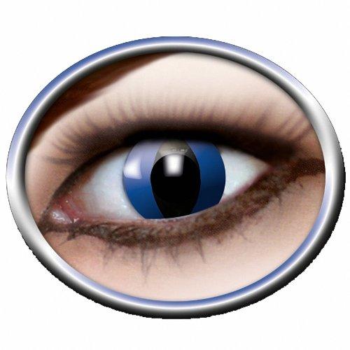 Eyecatcher Color Fun - Farbige Kontaktlinsen - Blue Cat - Blaue Katze - 1 Paar - Ideal für Karneval, Fasching, Halloween & Party