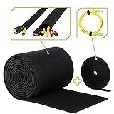 MAKONA® Premium Kabelschlauch - inklusive Klettkabelbinder - Kabelschlauch mit einstellbarem Durchmesser für perfektes Kabelmanagement - auch als Kabelschutz - Klettverschluss,Neopren,schwarz,200cm
