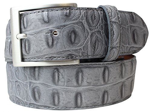 Gürtel mit Krokoprägung 4,0 cm Kroko-Prägung Hochwertig Krokodil-Muster Reptil-Prägung Ledergürtel Gurt Jeans 40mm, Bundweite 95, Dunkelgrau, Silber (Snake Print Schnalle)
