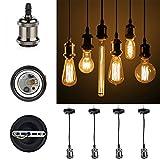 GreenSun LED Lighting Vintage Edison E27 Lampenfassung Antike Sockel Lampe Fassung Halter Zubehör mit 1.35 Meter 3-adriges Kabel Deckenfassung Lampenfuß für Pendelleuchte Hängelampe #R3, Keramik, 4er