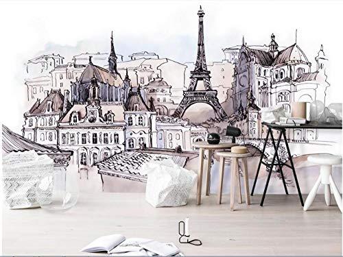 Dzrmb Europäische handgemalte ausländische Tourismus Mode Aufkleber Turm Aquarell Papier Peint Dekoration Tapete @ 300x210_cm_ (118.1_by_82.7_in) _