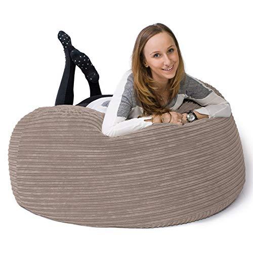 Lounge Pug, 'Mammoth' Sofa Sitzsack XXL, Riesen Sessle, Cord Nerzfarben