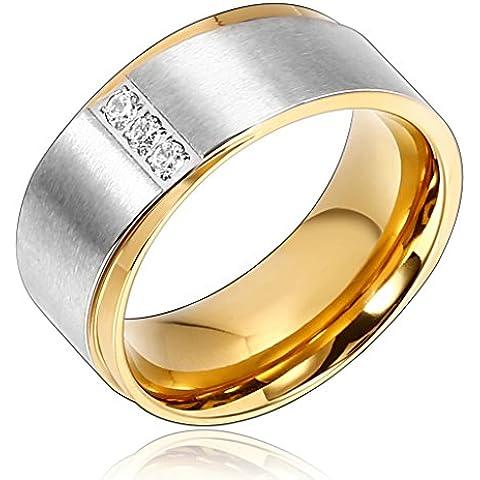 Bishilin 9MM Anello Acciaio Uomo Anello di Modas Placcato Oro Anelli Nuzial Anelli Fidanzamentos 3 Stones - 1 Anello Placcato Oro Bello
