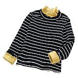Sunenjoy Enfants Filles Hiver Automne Chaud Manches longues Bande Velours T-shirt Pull Bande Creux Tops Chemisier pour 2 3 4 5 6 ans (noir, 6 ans)