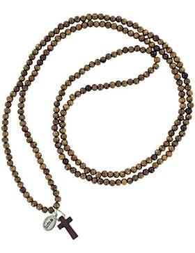 Halskette aus Holz mit Kreuzanhänger, mittelbraunes Holz, elastisch gebunden
