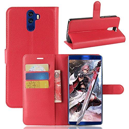 Kihying Hülle für Doogee BL12000 / Doogee BL12000 PRO Hülle Schutzhülle PU Leder Flip Wallet Fashion Geschäft HandyHülle (Rot - JFC03)