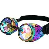Byqny Street Beat Trend Steampunk Cosplay Kaleidoskop Brille Rave Festival Party EDM Mosaik Gläser Regenbogen Prisma Diffraktion