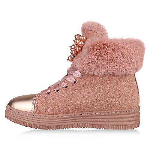 Stiefelparadies Damen Schuhe Winterboots Warm Gefütterte Plateau Stiefeletten Kunstfell Flandell Rosa Cabanas