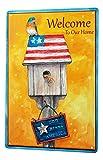 LEotiE SINCE 2004 Blechschild Wandschild 30x40 cm Vintage Retro Metallschild Vogel Vogelhäuschen Willkommensspruch USA Flagge