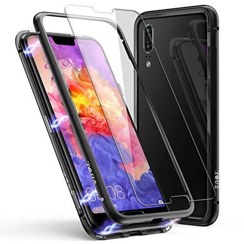 Custodia per Huawei P20, Custodia ad Assorbimento Magnetico ZHIKE Montatura in Metallo Ultra Sottile Vetro temperato con Cover Magnetica Integrata per Huawei P20 (Nero Trasparente)