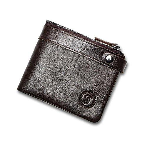 Xingxiu Herren Leder 2 Falten Brieftasche Rindsleder Geldbörse Casual Kurze Wachs Haut (Leder Hipster Brieftasche Herren)
