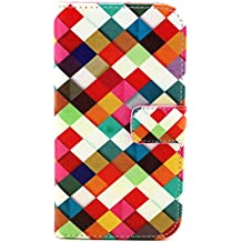Beiuns Funda de piel para Alcatel One Touch Pop C7 Carcasa - N136 azulejos de colores