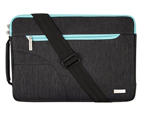 MOSISO 11-11.6 Pouces Housse MacBook Air 11/HP Stream 11 Polyester Hydrofuge Polyester Tissu Sac Bandoulière Ordinateur Portable, Noir et Bleu Chaud