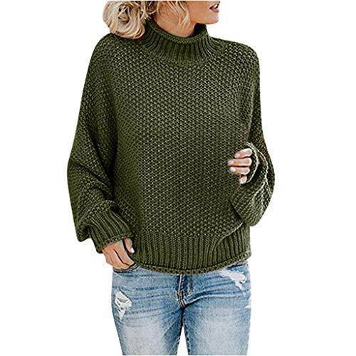 ➤Refill➤Pullover für Damen, Damen Rollkragenpullover Langarm Strickpullover Übergröße Pullover Baggy Chunky Sweater Tops