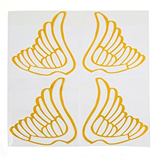 DealMux Car Rear View Mirrors Adhesive DIY Stickers Wing Pattern Decal Adron Yellow 4pcs