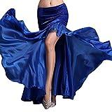 YiJee Damen Slit Tanz Kostüme Bauchtanz Rock Tribal Belly Dance Dancewear Dunkel Blau