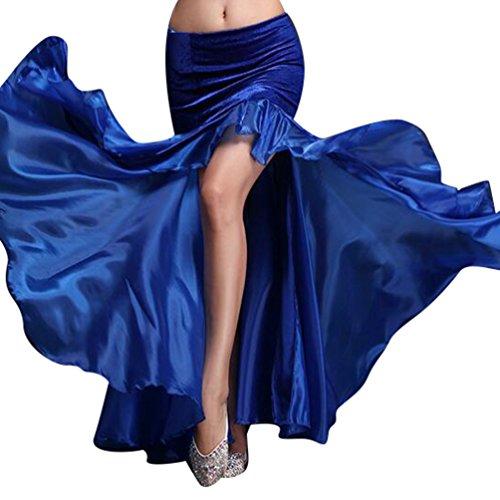 YiJee Damen Slit Tanz Kostüme Bauchtanz Rock Tribal Belly Dance Dancewear Dunkel (Kostüm Sportswear)
