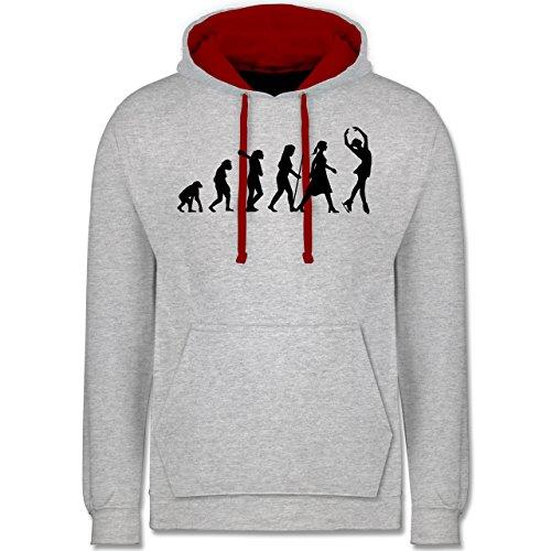 Evolution - Eisläuferin Evolution - Kontrast Hoodie Grau Meliert/Rot