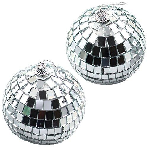 4 Silber Discokugeln Spiegelkugel für Party Dekoration| 70er 80er Jahre Mottoparty Deko | Strahlende Glänzende (80er Jahre Looks Party 80er)